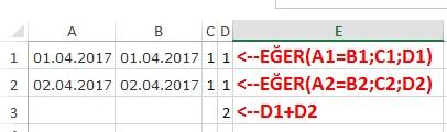 Excel de Tarih çıkarma