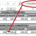 Excel'de Yuvarla ve Yukarıyuvarla Fonksiyonu Yani Sayının Ondalık Kısmını Azaltma Resimli 6