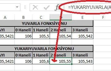 Excel'de Yuvarla ve Yukarıyuvarla Fonksiyonu Yani Sayının Ondalık Kısmını Azaltma Resimli 15