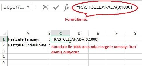 Excel'de Rastgele Tamsayı ve Rastgele Ondalık Sayı Üretmek