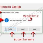 Excel VBA (Makro) MsgBox (Mesaj Kutusu) Adım Adım Detaylı Kullanımı 1
