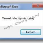 Excel VBA (Makro) MsgBox (Mesaj Kutusu) Adım Adım Detaylı Kullanımı 3