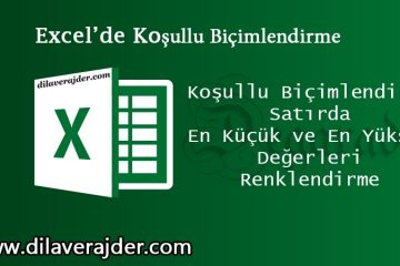 Excel'de Koşullu Biçimlendirme Satırda En Küçük ve En Yüksek Değerleri Renklendirme 6