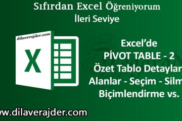 Özet Tablo Pivot Table 2