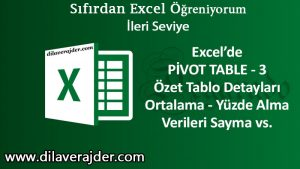 Özet Tablo Pivot Table 3