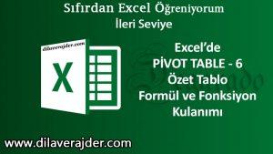 Pivot Table fonksiyon ve formül