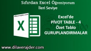 pivot table özet tablo guruplandırma