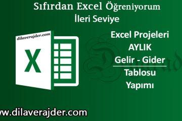 Excel Aylık Gelir Gider